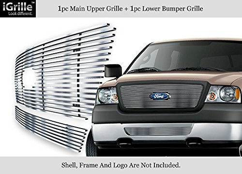 APS Fits 2006-2008 Ford F-150 Honeycomb Style Stainless Steel Billet Grille Combo Chrome Polished #F67858S