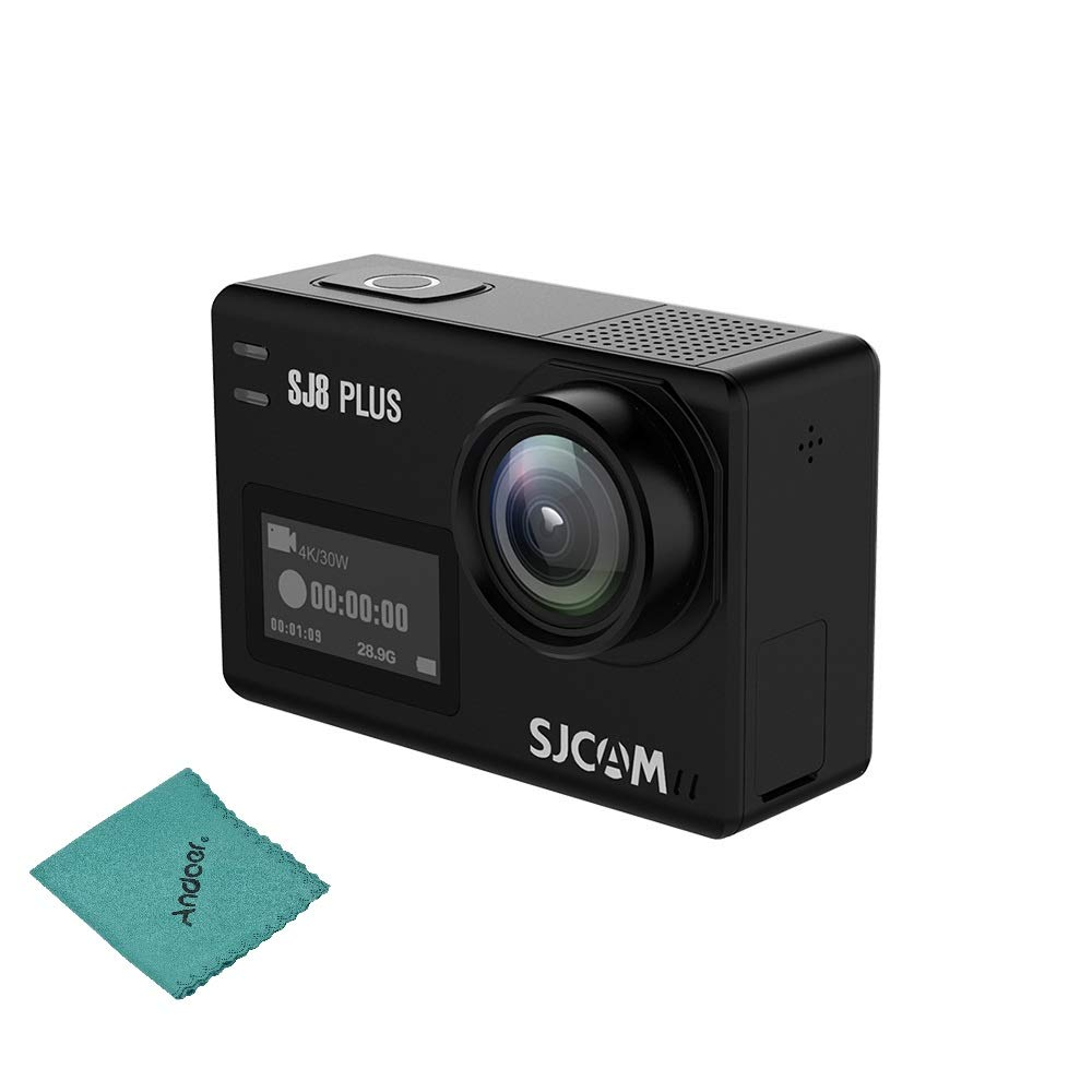 SJCAM SJ8 Plus Action Camera 4K/30FPS 12MP Sports Cam with EIS 170°Wide Angle Lens 2.33in Touch Screen 1200mAh Battery for Underwater Outdoor Activity Bare-Metal Version with Andoer Cleaning Cloth by SJCAM