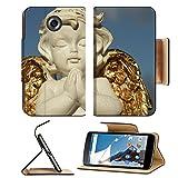 MSD Premium Motorola Google Nexus 6 Flip Pu Leather Wallet Case praying little angel figure with golden wings isolated on sky IMAGE 37104271