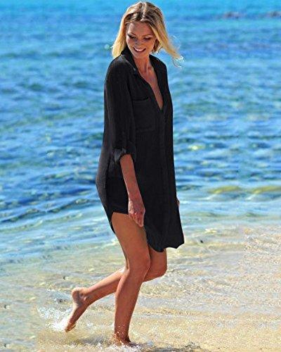 Tomwell Cover Poncho Abito Donna Tinta Bikini Da Unita Bagno Camicia Copricostume Chiffon Spiaggia Mare Nero Up trtq7ORw