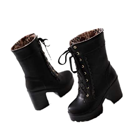 1ffb738d5daf0 Amazon.com: Yaloee High-Heeled Boots Girl White Black Soft Lace ...