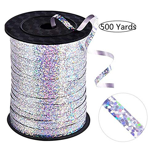 (500 Yards of Shiny Silver Balloon Ribbon for Parties, Florists, Weddings, Party Decorations, Crafts and Gift wrap. (Silver))