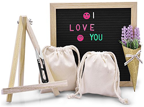 Losga Letter Board - 10 x 10 Black Felt Letter Boards with 543 Letters, Changeable Letter Board Set Oak Wood Frame with Mounting Hook Canvas Bag Scissors Storage Bag and Lavender Artificial Flower