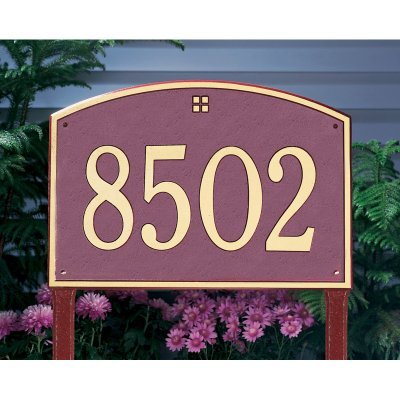 - Whitehall Products Cape Charles Standard Rectangular Pewter/Silver Lawn 1-Line Address Plaque