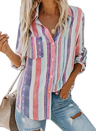 GOSOPIN Women's Casual Cotton Button Down Blouse Stripe V Neck Long Sleeve Pullover Tunic Tops White UK 10