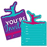 Tumble, Flip & Twirl - Gymnastics - Shaped Fill-In Invitations - Birthday Party or Gymnast Party Invitation Cards with Envelopes - Set of 12