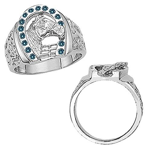 0.30 Carat Blue Diamond Fancy Horseshoe Horse Head Novelty Men's Man Designer Ring 14K White (0.30 Ct Marquise Diamond)