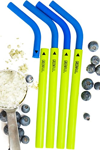 Reusable Silicone Straws. Temperature Safe for Smoothies, Hot and Cold Drinks. PATENTED DESIGN FOR EASY CLEANING and CUSTOMIZABLE LENGTH. Independently Third Party Tested For Safety. Blue 4-Pack