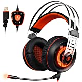 Image of SADES A7 7.1 Virtual Surround Sound USB Gaming Headset with Microphone Intelligent Noise Cancelling Gaming Headphones LED Light for Laptop PC Mac (Black&Orange)
