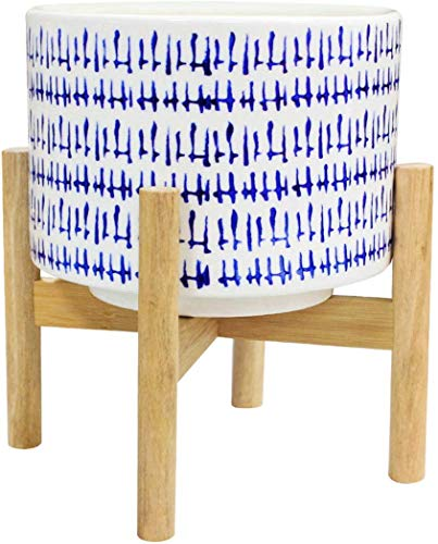 Ceramic Plant Pot with Wood Stand - 7.3 Inch Modern Round Decorative Flower Pot Indoor with Wood Planter Holder, Blue and White, Home Decor Gift (No Drainage Hole)
