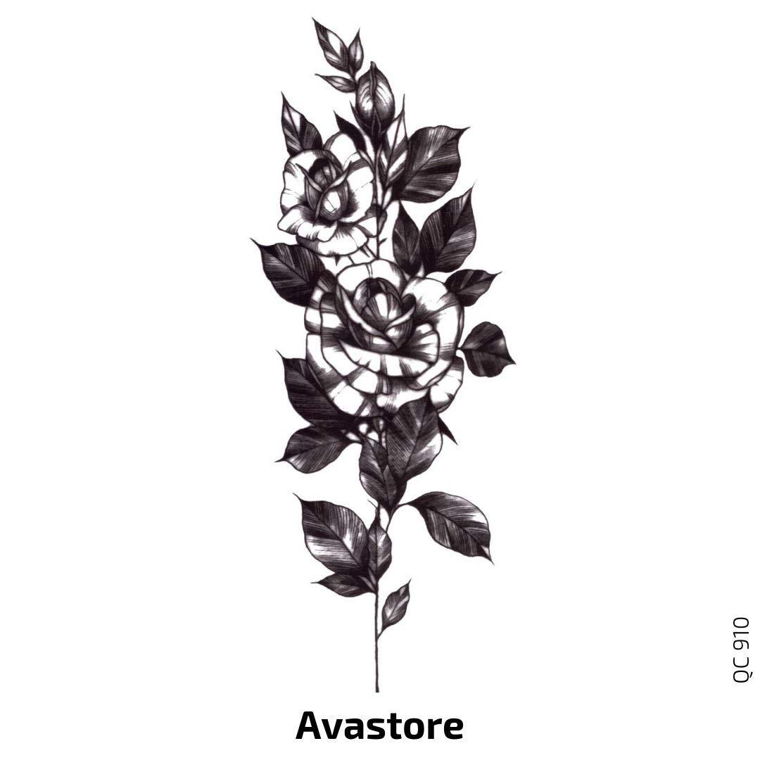 Avastore - Tatuaje temporal para mujer con diseño de rosas, color ...
