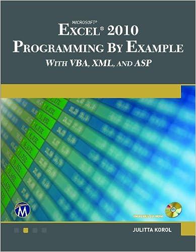 Kirja ladattavaksi Microsoft  EXCEL 2010 Programming By Example with VBA, XML, and ASP RTF
