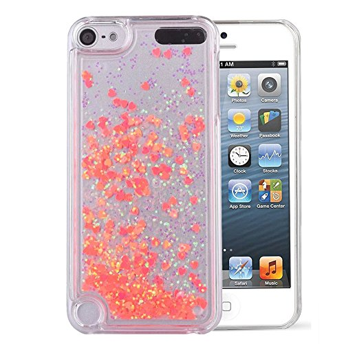 Touch 5 Case,iPod Touch 6 Case,LEECOCO Creative 3D Love Hearts Floating Quicksand Shiny Bling Glitter Flowing Liquid Transparent Clear Hard PC Protective Case for iPod Touch 5 / 6 [Love] Orange