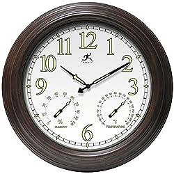 Infinity Instruments Radiant Reader Clock, Rustic Brown