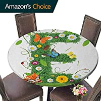 "Printsonne Round Table Cloth 43""-47"" Round, Letter E, E Symbol Nature Elements Wild Pasture Flowers Daisies Butterflies Colorful, Green Multicolor, Decorative Table Top Cover (Elastic Edge)"