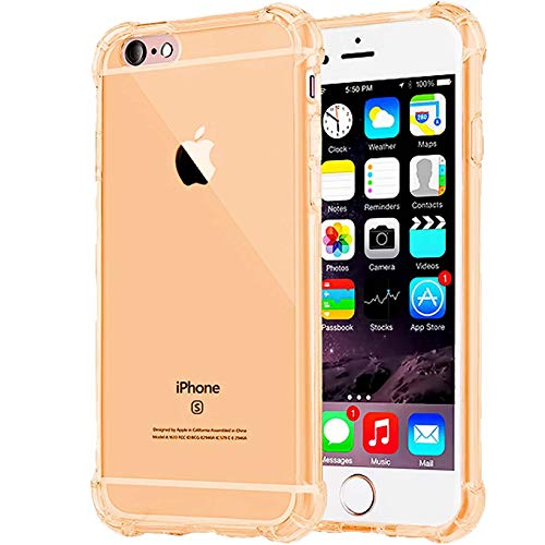 (Compatible with iPhone 7 Case, for iPhone 8 Case,Crystal Clear Heavy Duty Shock Absorption Technology Bumper Soft TPU Cover Case for iPhone 7 (2017)/iPhone 8 (2017) - Gold )