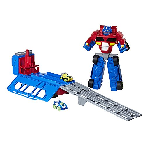Flip Track - PLAYSKOOL HEROES Transformers RBT Optimus Prime Race Track Trailer Playset