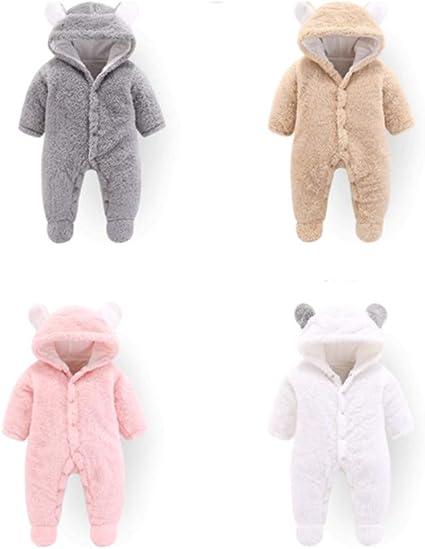 Brown FENICAL Hooded Romper Cartoon Bear Warm Jumpsuit for Newborn Baby Boys Girls