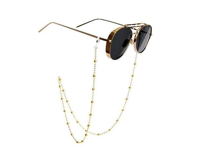 Soporte de cadena para gafas, con diseño de cuentas de cristal cadena de gafas de sol, cordones y sujetador del cuello para mujeres, oro, 81 cm