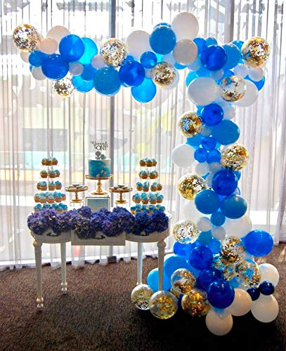 PartyWoo Blue Gold and White Balloons 70 pcs 12 inch Royal Blue Balloons Light Blue Balloons Gold Confetti Balloons White Balloons Blue and Gold Decorations, Royal Baby Shower Decorations