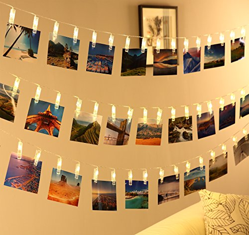Led Photo Clip String Lights- Qoolivin USB Plug Dual Control 5m 20 LED Warm White Lights with Battery Box for Creative Wall Decoration, Gallery, and Banner Clip