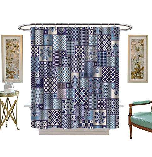 (Shower Curtains Digital Printing Vector Seamless Patchwork Pattern from Dark Blue,Indigo,Light Grey and Beige Oriental Ornaments Fabric Bathroom Set with Hooks Size:W54 x L72 inch)