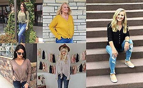 Imixcity Cardigan da Donna Casual Felpa Scollo a V Manica Lunga Top Lavorato a Maglia Color Block Camicia a Righe Pullover Camicette con Annodata