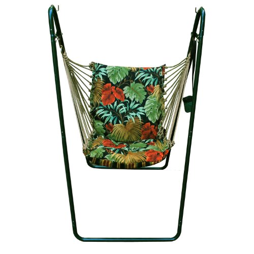 Algoma 1525-6683G Swing Chair and Stand Combination, Tropique Raven, Green Stand