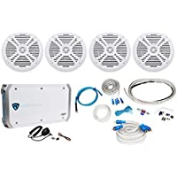 (4) Rockville RMSTS80B 8 2000w Marine Boat Speakers+4-Ch Amplifier+Amp Kit