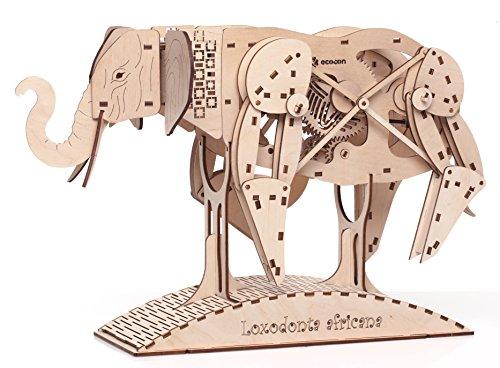 ECOCON African Elephant Animate Wooden Mechanical Models 3D Puzzle - Plywood Elephant