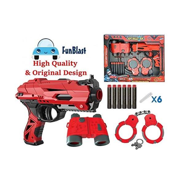 FunBlast High Speed Manual Soft Bullet Gun with 6 Foam Bullets, Handcuffs and Telescope for Kids/Boys/Children | Toy Gun Pistol for Kids