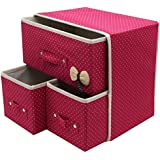 Krevia Folding 3 Drawer Fabric Storage Box Organizer For Clothing Jewelry ,Underwear Socks Ties Bra Etc (1 Pcs) (Colour May Vary)