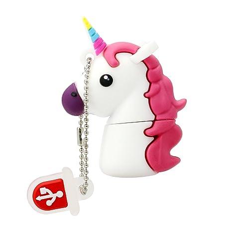 Novedad Flash Memory Stick Blanco Unicornio Shape Design 32GB USB 2.0 Flash Drive Cute Horse Thumb Drive Almacenamiento de Datos Pendrive Cartoon Jump ...