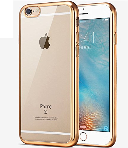 Price comparison product image iPhone 7 Case,iPhone7 Case,ikasus [Electroplate Bumper] Flexible Soft Rubber Clear TPU Transparent Skin Scratch-Proof [Golden] Plating Frame Silicone Bumper Case Cover for iPhone 7 4.7""