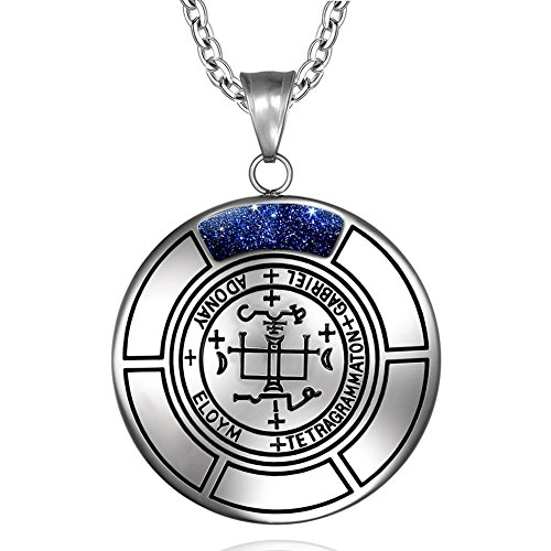 Sigil of Archangel Gabriel Magic Medallion Angel Amulet Blue Goldstone Pendant 18 inch Necklace