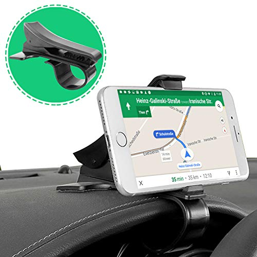 Dashboard Cellphone Holder Clip, PKYAA HUD Design Car Phone Mount, Durable Anti-Slip Vehicle Mount Compatible with Most ()