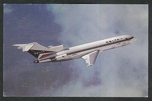 (Delta Air Lines Wide-Ride Boeing 727 jet postcard 1970s)