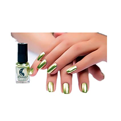 Zarup Espejo Esmalte de Uñas Metal Espejo de Acero Inoxidable de Color Esmalte de Uñas de Plata (Amarillo)