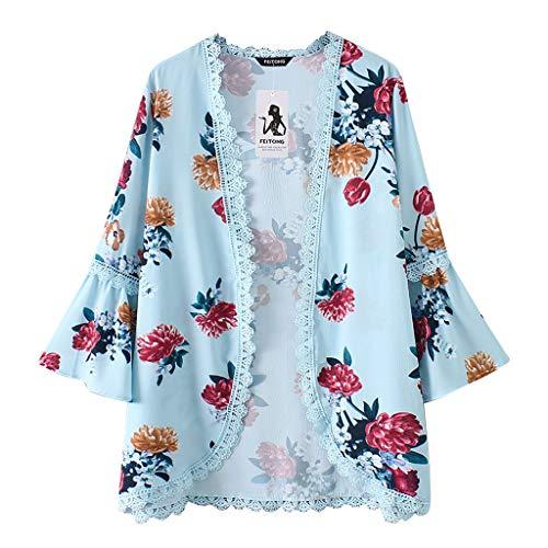 Willow S Women Fashion Casual Chiffon Shawl Floral Print 3/4Sleeve Kimono Cardigan Top Cover Up Loose Blouse Beachwear - Set Slinky Pant Knit