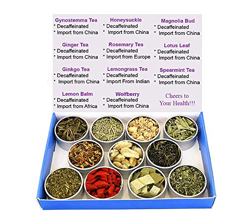 (Tea Sampler - Herbal Tea - Lemon Balm - Ginger - Lotus - Honeysuckle - Ginkgo - Gynostemma - Lemongrass - Mint - Rosemary - Wolfberry - Decaffeinated - Gift Box - Loose Tea )