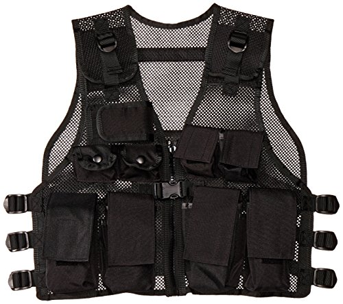 7a12f23d3c929 Modern Warrior Junior Tactical Vest - Airsoft & Paintball Accessory - Fits  Teens 50-125lbs (Black)