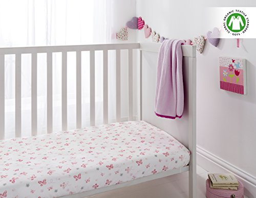 Butterfly Crib Sheet Set (Organic Cotton 200 Thread Count Crib Fitted Sheets for Baby or Toddler By Cuddles & Cribs, Pack of 2 - Butterfly & Pink)