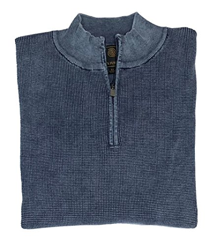 1/4 Thermal Zip (F/X Fusion Long Sleeve Baby Thermal Sandwashed 1/4 Zip Sweater (Blue, X-Large))
