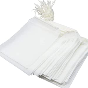 400 Pcs Empty Teabags Food Grade Material Made Filter Single Drawstring Tea Bags, Disposable Tea Infuser (XL - 3.9x4.72 inch)