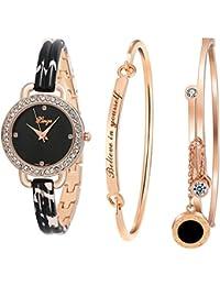 Women's Dress Bracelet Watch and Bangle Set Rose Gold Black Band D3866L