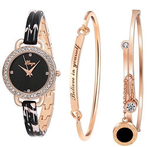 Bracelet Watch and Bangle Set Rose Gold Black Band D3866L ()