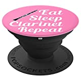 Clarinet Player Gift - Eat Sleep Clarinet Repeat - Pink - PopSockets Grip and Stand for Phones and Tablets