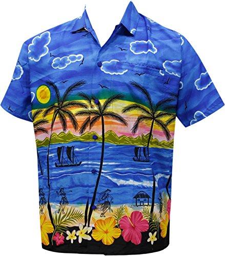 La Leela* Beachwear Aloha Manches Courtes Hawaïen Bouton des Hommes de Bas Chemise Hawaïen Bleu Ble