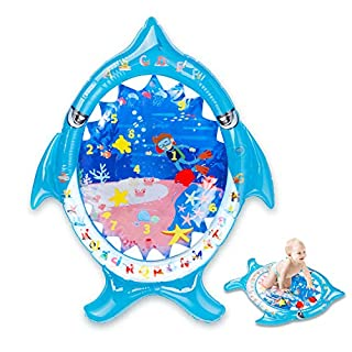 Aywewii Tummy Time Baby Water Mat Infant Toy Inflatable Play Mat for 3 6 9 Months Newborn Boy Girl, Fun Time Play Activity Center for Baby Brain Stimulation Growth [Shark Shape]