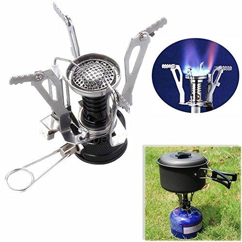 GS Mini Estufa de gas portátil para uso en exteriores plegable para camping picnic quemador mochileros quemador al aire...